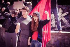 Young people protesting - stock photo