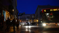 Rome Italy night traffic on Piazza Venezia - stock footage