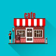 Restaurant or cafe illustration in flat style - stock illustration