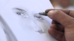 4K Rome, Italy Artist Drawing Portrait Face of a Girl, Closeup Sketching View Stock Footage