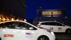 Rome Italy night traffic on Piazza Venezia - stock footage