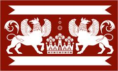 Heraldic Double Griffin - stock illustration