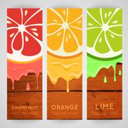 Three bright banner with stylized citrus fruit and splashes - stock illustration
