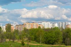 Natural summer landscape with the city in the distance Stock Photos