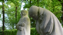 Grieving Parents of Berlin by artist Käthe Kollwitz at Vladslo, Belgium Stock Footage