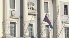 Flag flies from the town hall in Tartini Square, Piran Stock Footage