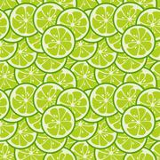 Cute seamless pattern with green lime slices Stock Illustration