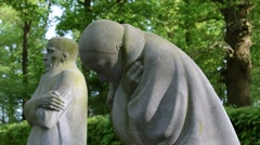 Grieving Parents by Käthe Kollwitz at German WWI cemetery at Vladslo, Belgium Stock Footage