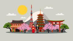 Japan Symbols Composition Flat Poster - stock illustration