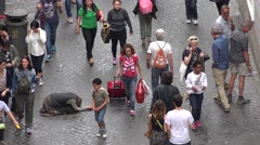4K Beggar, Homeless Woman on Streets, People, Tourists Walking in Rome, Italy Stock Footage
