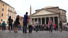 4K Pantheon, Rome, People, Tourists Walking, Visiting Famous Places in Italy Stock Footage