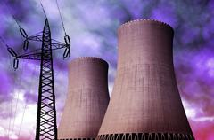 Nuclear power plant with electricity pylon Stock Photos