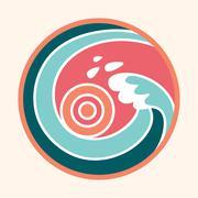 Ocean wave and sun logo Piirros