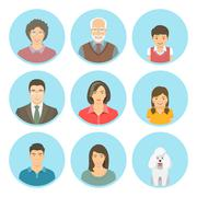 Asian family faces flat vector avatars set Stock Illustration