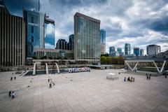 View of Nathan Phillips Square, in downtown Toronto, Ontario. Stock Photos