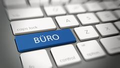 "Word ""BÜRO"" on a key on a modern keyboard Stock Illustration"