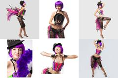 Burlesque. Collage of showgirl with purple hair Stock Photos