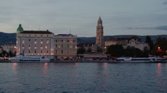 Evening view of the waterfront in Split Croatia. Stock Footage