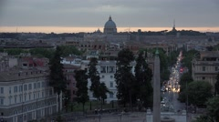 4K Aerial Vatican Piazza Popolo Rome Italy St Peter's Basilica Sunset View Stock Footage
