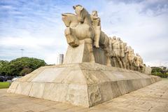 Bandeiras Monument at Ibirapuera Park, Sao Paulo, Brazil Stock Photos