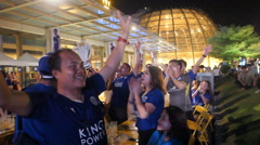 Supporters of Leicester City celebrate Stock Footage