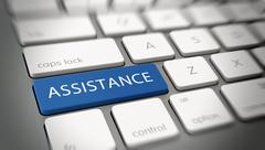 "Word ""ASSISTANCE"" on a key on a modern keyboard Stock Illustration"