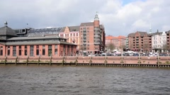 "The famous building ""Fishmarket"" from a boat sailing down the Elbe Elbe - stock footage"