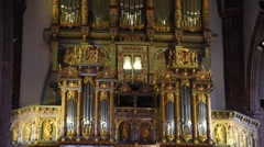 FLENSBURG - GERMANY - April 2016 - The cathedral organ sounds - Audio - Zoom out Stock Footage