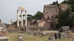 4K Roman Forum in Rome, Italy, Ruins, Columns Temple, Historical Monuments Stock Footage