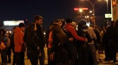 People walking at night street. Stock Footage
