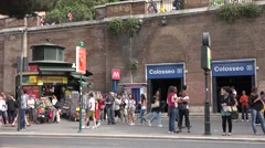 4K People in Street at Colosseo Subway, Underground Station in Rome, Colosseum Stock Footage