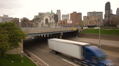 Urban Traffic Downtown Highway Viaduct Detroit Rush Hour Traffic Transportati - stock footage