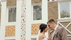 Warm feelings of bride and groom - stock footage