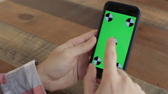 Man Holding Smartphone Touch Screen With Green Screen Chroma Key - stock footage