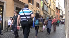 4K Rome, Italy, Tourists People Shopping, Walking on Streets, Travel Guide View Stock Footage