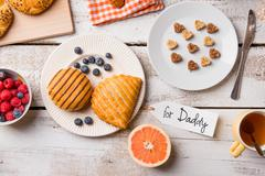 Fathers day composition. Breakfast meal. For Daddy tag. Studio s Stock Photos