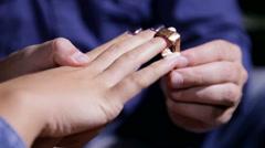 paper dress wedding ring - stock footage