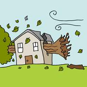 Tree falling on house on a  windy day - stock illustration