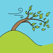 Leaves blown off tree on a  windy day Stock Illustration