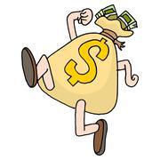 Runaway savings money bag Stock Illustration