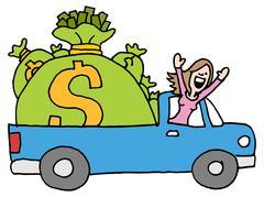 woman driving away with runaway savings money bag - stock illustration