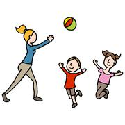 Baby sitter playing ball with children Stock Illustration