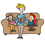 Baby sitter reading to children Stock Illustration