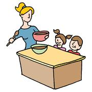 Baby sitter cooking for children Stock Illustration