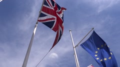 EU and UK flags in the blue sky Stock Footage
