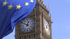 European Union flag is waving in front of Big Ben (close up) Stock Footage