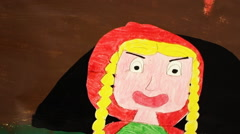 Little Red Riding Hood drawing yell - stock footage