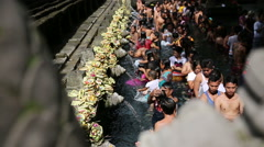 Balinese People Come To Sacred Springs Water Temple In Bali, Indonesia Stock Footage