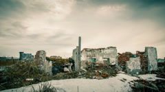 Cloudy sky over the destroyed building.Timelapse Stock Footage