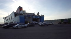 StenaLine Ferry in Ventspils Stock Footage